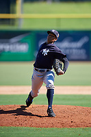 New York Yankees pitcher Jhony Brito (28) delivers a pitch during a Florida Instructional League game against the Philadelphia Phillies on October 12, 2018 at Spectrum Field in Clearwater, Florida.  (Mike Janes/Four Seam Images)