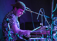 08 APR 2016 - STOWMARKET, GBR - Ben Ward on drums for Superglu during a recording for BBC Introducing at the John Peel Centre for Creative Arts in Stowmarket, Suffolk, Great Britain (PHOTO COPYRIGHT © 2016 NIGEL FARROW, ALL RIGHTS RESERVED)