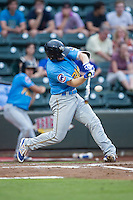Ian Rice (3) of the Myrtle Beach Pelicans at bat against the Winston-Salem Dash at BB&T Ballpark on July 7, 2016 in Winston-Salem, North Carolina.  The Dash defeated the Pelicans 13-9.  (Brian Westerholt/Four Seam Images)