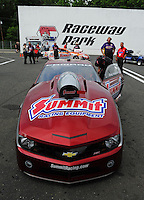 Jun. 1, 2012; Englishtown, NJ, USA: Detailed view of the front end of the NHRA pro stock Camaro driven by Greg Anderson during qualifying for the Supernationals at Raceway Park. Mandatory Credit: Mark J. Rebilas-