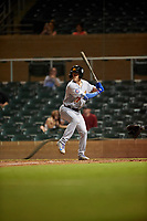 Mesa Solar Sox Jared Young (17), of the Chicago Cubs organization, at bat during an Arizona Fall League game against the Salt River Rafters on September 19, 2019 at Salt River Fields at Talking Stick in Scottsdale, Arizona. Salt River defeated Mesa 4-1. (Zachary Lucy/Four Seam Images)