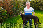 Brendan Maunsell with his greyhound Redzer Ardfert at his home in Abbeydorney on Saturday
