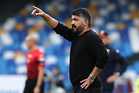 Gennaro Gattuso coach of SSC Napoli gestures<br /> during the Serie A football match between SSC Napoli and Genoa CFC at stadio San Paolo in Napoli (Italy), September 27, 2020. <br /> Photo Cesare Purini / Insidefoto