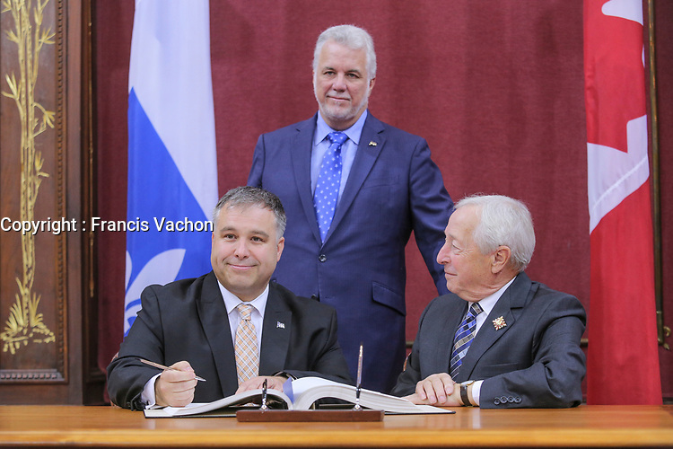 Sebastien Proulx is sworn in as Ministre de lí…ducation, du Loisir et du Sport (Minister of Education and Sports) of the new Liberal cabinet at the National Assembly in Quebec city October 11, 2017.<br /> <br /> PHOTO :  Francis Vachon - Agence Quebec Presse