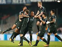 Football Soccer: UEFA Champions League Napoli vs Mabchester City San Paolo stadium Naples, Italy, November 1, 2017. <br /> Manchester City's John Stones celebrates with his teammates after scoring during the Uefa Champions League football soccer match between Napoli and Manchester City at San Paolo stadium, November 1, 2017.<br /> UPDATE IMAGES PRESS/Isabella Bonotto