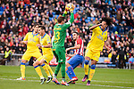 Atletico de Madrid Koke Resurreccion and UD Las Palmas Javi Varas and Pablo Mauricio Lemos during La Liga match between Atletico de Madrid and UD Las Palmas at Vicente Calderon Stadium in Madrid, Spain. December 17, 2016. (ALTERPHOTOS/BorjaB.Hojas)