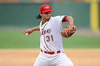Pitcher Jason Garcia (31) of the Greenville Drive delivers a pitch in a game against the Asheville Tourists on Sunday, July 20, 2014, at Fluor Field at the West End in Greenville, South Carolina. Asheville won game two of a doubleheader, 3-2. (Tom Priddy/Four Seam Images)