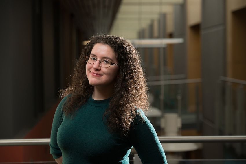 Fulbright Scholar Megan Green, photographed in UAA's Consortium Library.