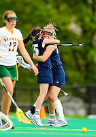 1 May 2010: University of New Hampshire Wildcat midfielder Hayley Rausch, a Sophomore from Severna Park, MD, celebrates a goal with Shaunna Kaplan during a game against the University of Vermont Catamounts at Moulton Winder Field in Burlington, Vermont. The visiting Wildcats defeated the Lady Catamounts 18-10 in the last game of the 2010 regular season. Mandatory Photo Credit: Ed Wolfstein Photo