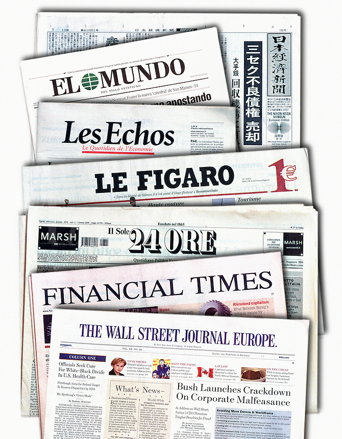 Mastheads of leading newspapers of the world
