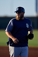 AZL Padres 1 hitting coach Jed Morris (23) during an Arizona League game against the AZL Indians Red on June 23, 2019 at the Cleveland Indians Training Complex in Goodyear, Arizona. AZL Indians Red defeated the AZL Padres 1 3-2. (Zachary Lucy/Four Seam Images)