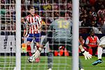 Kieran Trippier of Atletico de Madrid and Thibaut Courtois of Real Madrid during La Liga match between Atletico de Madrid and Real Madrid at Wanda Metropolitano Stadium{ in Madrid, Spain. {iptcmonthname} 28, 2019. (ALTERPHOTOS/A. Perez Meca)
