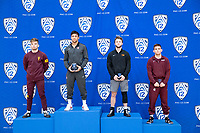 STANFORD, CA - March 7, 2020: Cory Crooks of Arizona State University, Real Woods of Stanford, Grant Willits of Oregon State University, and Conner Ward of Little Rock receive awards during the 2020 Pac-12 Wrestling Championships at Maples Pavilion.