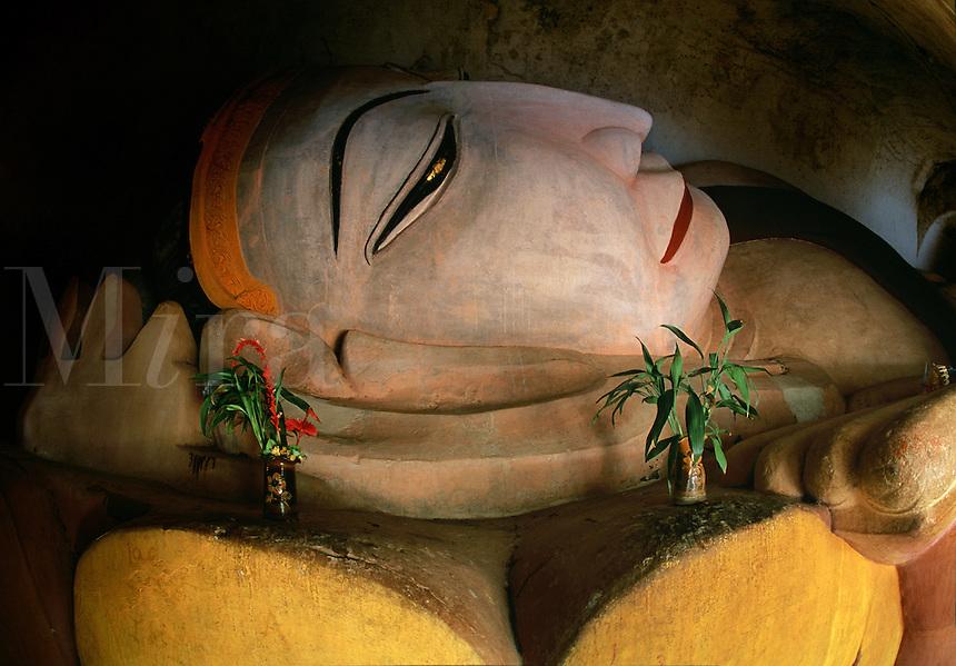 Close up of reclining Buddha Manuha Temple Pagan Burma