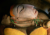 Close up of reclining Buddha Manuha Temple Pagan Burma