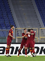 Football Soccer: UEFA Europa League UEFA Europa League Group A  AS Roma vs FCR Cluj, Olympic stadium, Rome, 5 November, 2020.<br /> Roma's Roger Ibanez (r) celebrates after scoring with his teammates during the Europa League football match between Roma and Cluj at the Olympic stadium in Rome on  5 November, 2020.<br /> UPDATE IMAGES PRESS/Isabella Bonotto