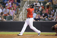 KJ Woods (24) of the Kannapolis Intimidators follows through on his swing against the Hagerstown Suns at Kannapolis Intimidators Stadium on July 4, 2016 in Kannapolis, North Carolina.  The Intimidators defeated the Suns 8-2.  (Brian Westerholt/Four Seam Images)