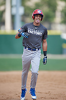 Jeffrey Diaz (13) rounds the bases after hitting a home run during the Dominican Prospect League Elite Underclass International Series, powered by Baseball Factory, on August 31, 2017 at Silver Cross Field in Joliet, Illinois.  (Mike Janes/Four Seam Images)