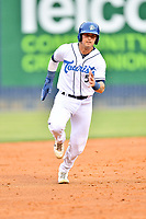 Asheville Tourists Korey Lee (5) runs to third base during a game against the Greenville Drive on May 18, 2021 at McCormick Field in Asheville, NC. (Tony Farlow/Four Seam Images)