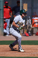 Oakland Athletics Seth Brown (16) during an instructional league game against the Los Angeles Angels on October 9, 2015 at the Tempe Diablo Stadium Complex in Tempe, Arizona.  (Mike Janes/Four Seam Images)