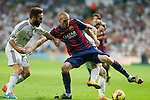 Real Madrid´s Daniel Carvajal and Luka Modric (R) and Barcelona´s Mathieu (C) during La Liga match between Real Madrid and F.C. Barcelona in Santiago Bernabeu stadium in Madrid, Spain. October 25, 2014. (ALTERPHOTOS/Victor Blanco)