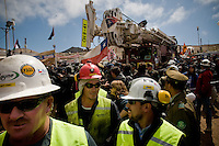 Copiapo, Chile oct 2010. Drilling machine t130 is relased from the mine afther 33 days of succesfully excavation.