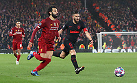 Liverpool's Mohamed Salah vies for possession with Atletico Madrid's Koke<br /> <br /> Photographer Rich Linley/CameraSport<br /> <br /> UEFA Champions League Round of 16 Second Leg - Liverpool v Atletico Madrid - Wednesday 11th March 2020 - Anfield - Liverpool<br />  <br /> World Copyright © 2020 CameraSport. All rights reserved. 43 Linden Ave. Countesthorpe. Leicester. England. LE8 5PG - Tel: +44 (0) 116 277 4147 - admin@camerasport.com - www.camerasport.com