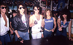 Queensryche instore at Agents of Fortune, Massapequa Park, NY. Scott Rockenfield, Chris Degarmo, Geoff Tate, Michael Wilton, Eddie Jackson. May 1985