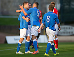 St Johnstone v Ross County....SPFL Development League...19.08.14<br /> Jason Kerr celebrates his goal with Alex Kitchen and Chris Kane<br /> Picture by Graeme Hart.<br /> Copyright Perthshire Picture Agency<br /> Tel: 01738 623350  Mobile: 07990 594431