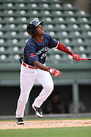Left fielder Marino Campana (23) of the Greenville Drive bats in a game against the Augusta GreenJackets on Wednesday, April 25, 2018, at Fluor Field at the West End in Greenville, South Carolina. Augusta won, 9-2. (Tom Priddy/Four Seam Images)