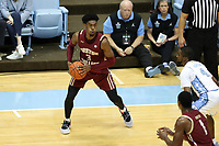 CHAPEL HILL, NC - FEBRUARY 1: Jared Hamilton #3 of Boston College holds the ball during a game between Boston College and North Carolina at Dean E. Smith Center on February 1, 2020 in Chapel Hill, North Carolina.