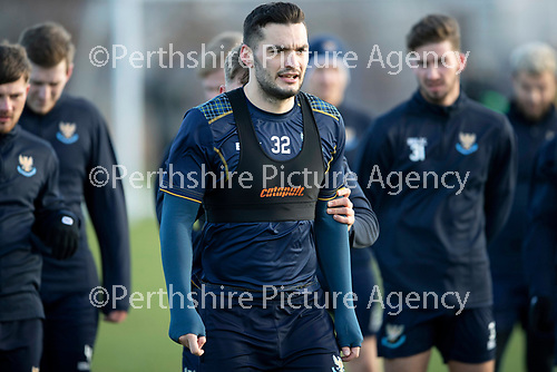St Johnstone Training…07.12.18…   McDiarmid Park    <br />Jason Kerr hides behind Tony Watt during training ahead of tomorrows game against Aberdeen<br />Picture by Graeme Hart. <br />Copyright Perthshire Picture Agency<br />Tel: 01738 623350  Mobile: 07990 594431