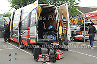 "The Raleigh team maintenance van full of spare parts during the Abergavenny Festival of Cycling ""Grand Prix of Wales"" race on Sunday 17th 2016<br /> <br /> <br /> Jeff Thomas Photography -  www.jaypics.photoshelter.com - <br /> e-mail swansea1001@hotmail.co.uk -<br /> Mob: 07837 386244 -"