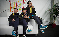 Vincenzo Nibali (ITA/Astana), Paolo Tiralongo (ITA/Astana) & Luis Leon Sanchez (ESP/Astana) waiting for the pre-race team presentation (the day before the race)<br /> <br /> 102nd Liège-Bastogne-Liège 2016