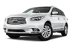 Low aggressive front three quarter view of a 2014 Infiniti QX60