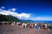 The Nuuanu Pali Overlook is a must see destination for all visitors to Oahu. A panoramic view of the Koolau Mountains and windward Oahu can be seen from this scenic overlook.