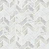 Vincent , a waterjet stone mosaic shown in honed Thassos and Calacatta Tia, is part of the Silk Road® collection by New Ravenna.