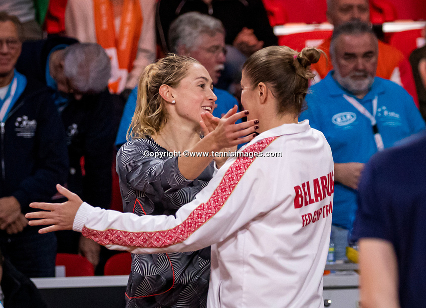 The Hague, The Netherlands, Februari 8, 2020,    Sportcampus, FedCup  Netherlands -  Balarus, Seccond match on Saturday:  Aliaksandra Sasnovich (BLR) defeats Rus and equals the score 2-2 <br /> Photo: Tennisimages/Henk Koster