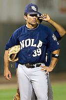 New Orleans Zephyrs first baseman Mike Cervenak #39 waits during a pitching change in the game against the Round Rock Express at the Dell Diamond on July 20, 2011 in Round Rock, Texas.  New Orleans defeated Round Rock 14-11.  (Andrew Woolley/Four Seam Images)