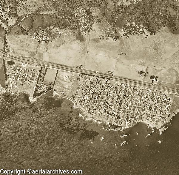 historical aerial photograph Shell Beach, San Luis Obispo County, California, 1963