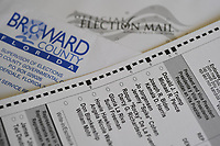 LAUDERHILL, FL - OCTOBER 14: An official Broward County Elections Department vote-by-mail 2020 presidential election ballot is seen featuring the Republican and Democratic candidates during the 2020 Presidential Election on October 14, 2020 in Lauderhill, Florida. <br /> CAP/MPI04<br /> ©MPI04/Capital Pictures