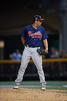 Danville Braves relief pitcher Zach Seipel (46) looks in for the sign during a game against the Johnson City Cardinals on July 28, 2018 at TVA Credit Union Ballpark in Johnson City, Tennessee.  Danville defeated Johnson City 7-4.  (Mike Janes/Four Seam Images)