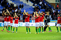 Tuesday, 7 May 2013<br /> <br /> Pictured: Swans players applaud fans<br /> <br /> Re: Barclays Premier League Wigan Athletic v Swansea City FC  at the DW Stadium, Wigan