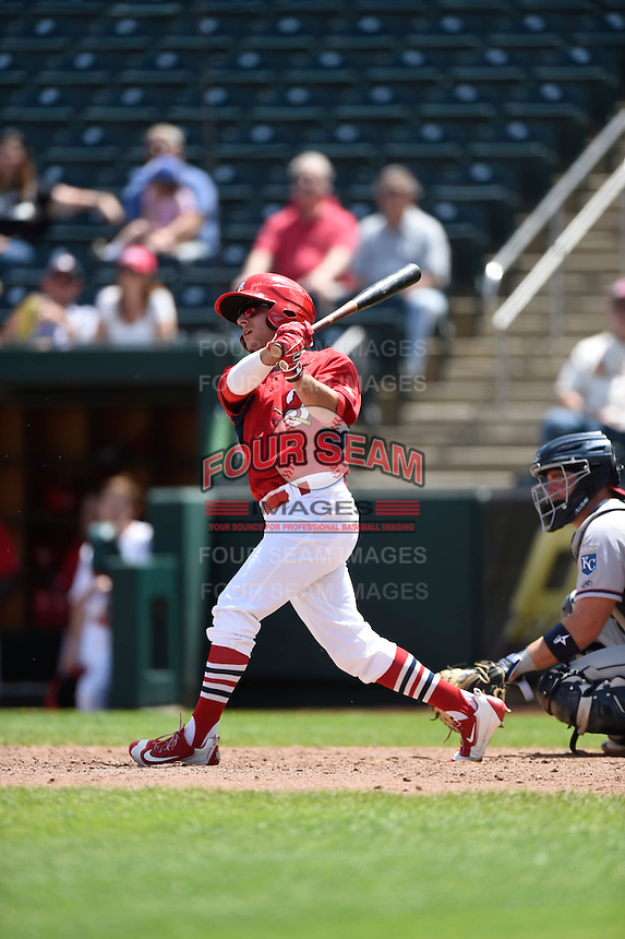 ***Temporary Unedited Reference File***Springfield Cardinals shortstop Mikey Reynolds (3) during a game against the Northwest Arkansas Naturals on April 27, 2016 at Hammons Field in Springfield, Missouri.  Springfield defeated Northwest Arkansas 8-1.  (Mike Janes/Four Seam Images)
