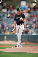 Jordan Patterson (10) of the Albuquerque Isotopes during the game against the Salt Lake Bees at Smith's Ballpark on April 5, 2018 in Salt Lake City, Utah. Salt Lake defeated Albuquerque 9-3. (Stephen Smith/Four Seam Images)