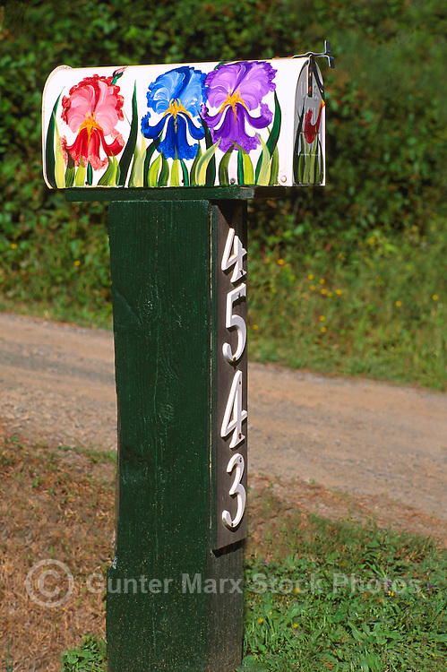 An Artistic and Whimsical Folk Art Flower Mailbox on North Pender Island, in the Southern Gulf Islands, British Columbia, Canada