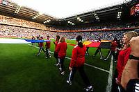 Fifa Women's World Cup Germany 2011 : France - Germany ( Frankrijk - Duitsland ) at Munchengladbach World Cup stadium : opkomst van de Franse en Duitse vlag.foto DAVID CATRY / Vrouwenteam.be