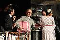 "English National Opera present their fourth revival of Jonathan Miller's production of Puccini's ""La Boheme"", in which Natalya Romaniw makes her ENO debut. Cast is: Natalya Romaniw (Mimi), Jonathan Tetelman (Rodolfo), Nicholas Lester (Marcello), Simon Butteriss (Benoit/Alcindoro), Nadine Benjamin (Musetta), David Soar (Colline), Bozidar Smiljanic (Schaunard). Picture shows: Simon Butteriss (Alcindoro), Nadine Benjamin (Musetta)"