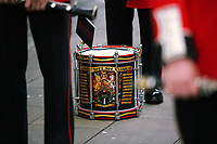 Pictured: The drum played by one of the Welsh Guards parade through Castle Square in Swansea.  Friday 15 September 2017<br />