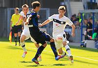 Football: Germany, 2. Bundesliga.Andrew Wooten (Sandhausen), Jens Wemmer (Paderborn) and Marcel Kandziora (Sandhausen).?Ǭ© pixathlon